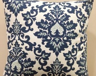 Zipper Closure Cecilia Navy White Pillow Cover Decorative Throw Pillow 12x16,16x16, 18x18, 20x20