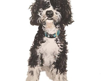 Custom hand painted illustration of your beloved pet