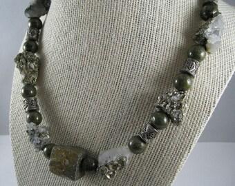 OOAK Pyrite/Quartz/Russian Jade Statement Necklace