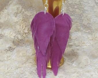 Earrings Beautiful Pink Leather Suede Feather Earrings (#17G)