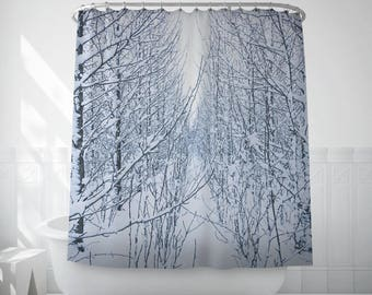 Frozen Tree Shower Curtain, Snowy Tree Print, Black And White Shower Curtain, Bath Set, Shower Curtain Liner, Extra Long Shower Curtains