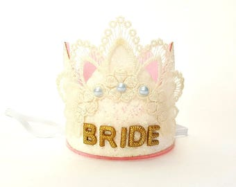 Bachelorette Party Bride Crown,Bride To Be, Lace Crown,Bridal Shower Crown,Bachelorette Crown,Bachelorette Party Custom Crown, white & gold
