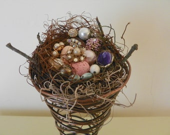Bird nest with costume jewelry eggs in bed spring/Jewel eggs in bird nest/Bird nest in bed spring/OOAK spring home decor