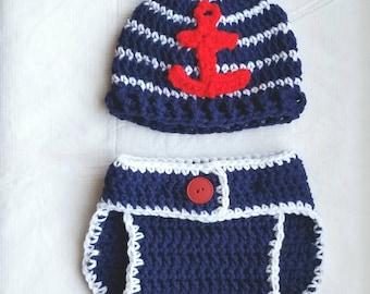 Nautical hat and diaper set