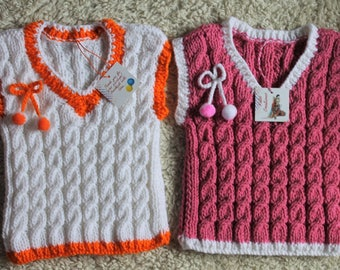 Hand-Knit Sweater Vest for Babies, Acrylic