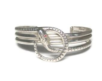 Vintage Mexican Sterling Silver Snake Cuff Bracelet 6.25