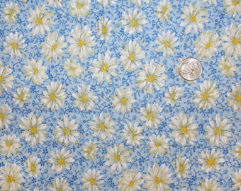 Fabric - Large Piece - White Daisies on Blue - Quiltsy Destash Party