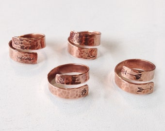 Stamped Copper Wrap Rings