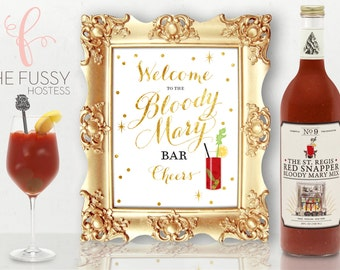 Bloody Mary Bar Sign, Bloody Mary Bar Print, Bridal Shower, Birthday Party, Wedding Sign, Bar Sign, DIY Printable Sign, Instant Download