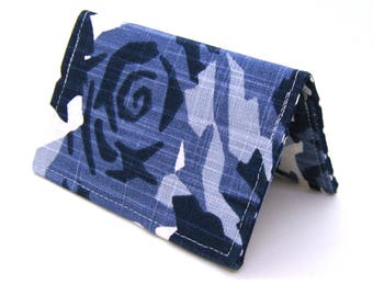 Mini Wallet / Card Holder / Business Card Holder / Card Case / Gift Card Holder/ Small Wallet - Indigo Blue Geometric Floral