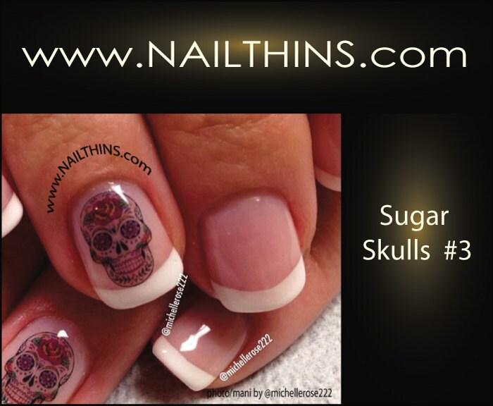 Nail art decal sugar skulls 3 hearts n roses skull nail art zoom prinsesfo Images