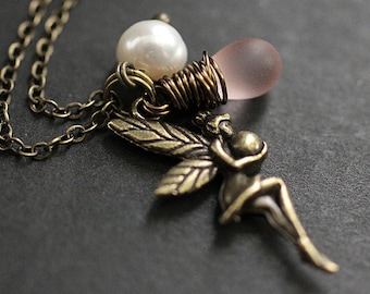 Fairy Necklace. Bronze Faery Necklace with Frosted Pink Teardrop and Fresh Water Pearl. Handmade Jewellery.