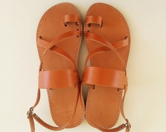 Women Leather Light Brown Flat Sandals - Greek Sandals Women