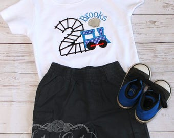 Kids Personalized Birthday Shirt, Train Birthday, Choo Choo Train, Sizes from 0-3 months to size 8, Toddler Kids Boy Girl, Custom Train