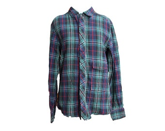 Vintage Blue Green Flannel Shirt with Hidden Pockets Size Small