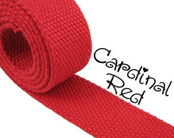 """Cotton Webbing - Cardinal Red - 1.25"""" Medium Heavy Weight for Key Fobs, Purse Straps, Belting - SEE COUPON"""
