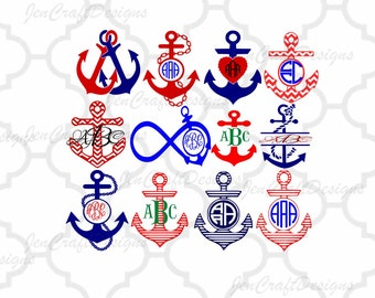 Anchor Monogram SVG Cuttable Nautical Anchor SVG, DXF, Eps,Png  Instant Download Silhouette Studio and Cricut Design Space.