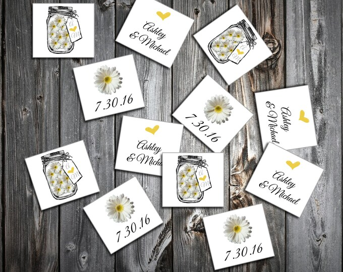 Mason Jar with Daisies Wedding Confetti Personalized table decor
