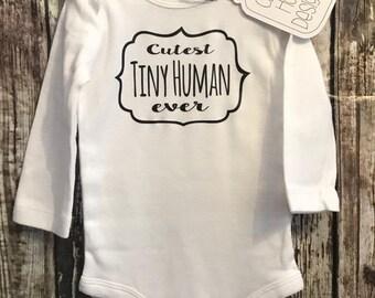 New Baby Gift, Tiny Human Onesie, Tiny Human Bodysuit, Announcement Onesie (long sleeve, short sleeve)[new mom gift, Shower Gift, baby gift]