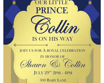 Prince Baby Shower Invite/Royal Baby Shower Invite/Blue and Gold Baby Shower Invite