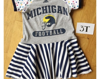 Upcycled University of Michigan Wolverines pink tshirt dress size 3 raglan sleeves striped dress recycled