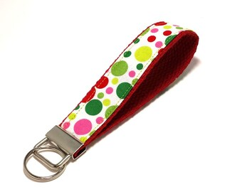 FREE SHIPPING UPGRADE with minimum -  Key Lanyard - Key Fob - Fabric Key Ring -- Dots of Red and Green