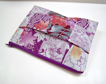 Purple Flowers and Birds Zippered Clutch with Front Handle