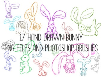 Cute Collection of 17 Hand Drawn Bunny Rabbits ABR Brushes, 18 PNG Files Clipart!
