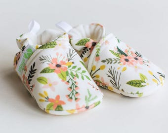 Organic Knits Vegan Sprigs and Blooms in Coral / All Fabric Soft Sole Baby Shoes / Made to Order