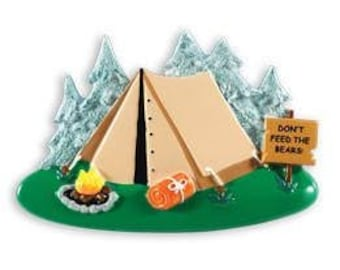Camping Ornament  Tent Ornament  The Outdoors  Happy Campers  Personalized Christmas Ornament