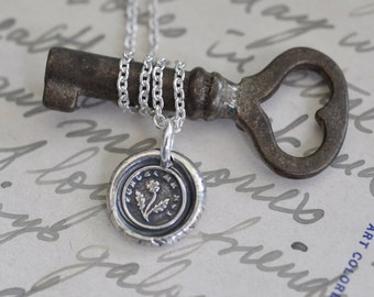tiny forget me not flower wax seal necklace - faithfulness, love - fine silver Victorian trinket wax seal jewelry