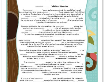 Owl Baby Shower Mad Lib Game - Instant Download & Print Game