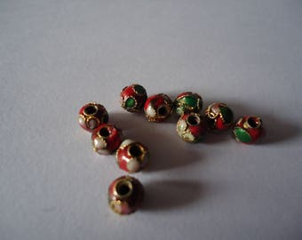 Set of 6mm red cloisonne beads