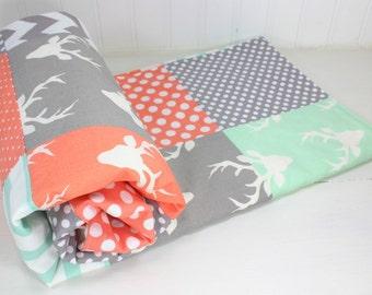 Woodland Baby Blanket, Woodland Nursery Decor, Minky Baby Blanket, Baby Quilt, Woodland Nursery, Mint, Peach, Gray, Grey, White, Deer, Buck