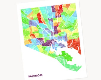 Baltimore Map Print.  Choose the Colors and Size.  Map of Bmore, Maryland.  Perfect wall art for your Favorite MD Local.