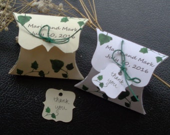 Small pillow box, wedding pillow box, favor box, confetti box, party favor, garden party favor, personalized pillow box & tags, 2 3/8 x 3