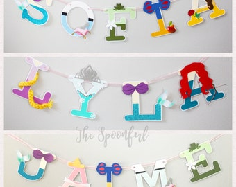 Disney Princess  Name Banner, Princess Name Banner, Princess Banner, Disney Princess Letters