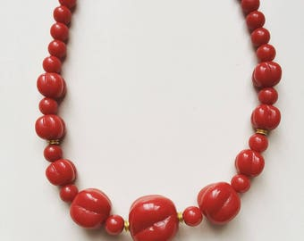 1960s vintage old plastic red beads chocker necklace for Christmas season