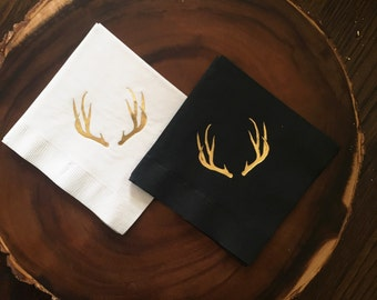 Deer Antlers Cocktail Napkins,  Gold Foil Stamp, Cocktail Parties, Birthday Party, 20 CT.