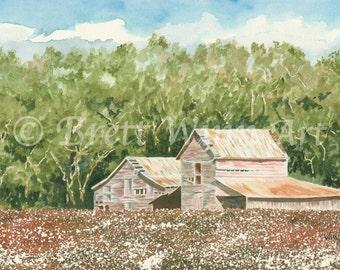 High Cotton Print, Printable Art, Barn Art, Home Decor, Cotton Field, Watercolor, Wall decor, Instant Download