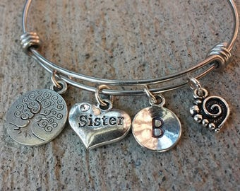 Tree of Life Sister Bracelet, Sister Stainless Steel Bangle, Stainless Steel Bracelet, Initial Bangle, Swirl Heart