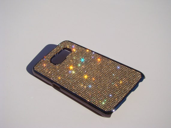 Galaxy S6 Gold Topaz Rhinestone Crystals on Space Black/Brown Chrome Case. Velvet/Silk Pouch Bag Included, Genuine Rangsee Crystal Cases.