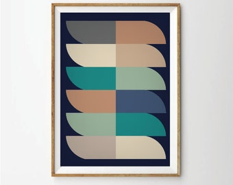 Geometic Poster, Abstract Poster, Geometric Art Print, Abstract Art Print,  Retro Print Poster,  Mid Century Print Poster