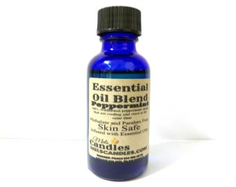 Peppermint 1oz / 29.5ml Blue Glass Bottle of Skin Safe Fragrance Oil -Perfect for candle & Soap Makers