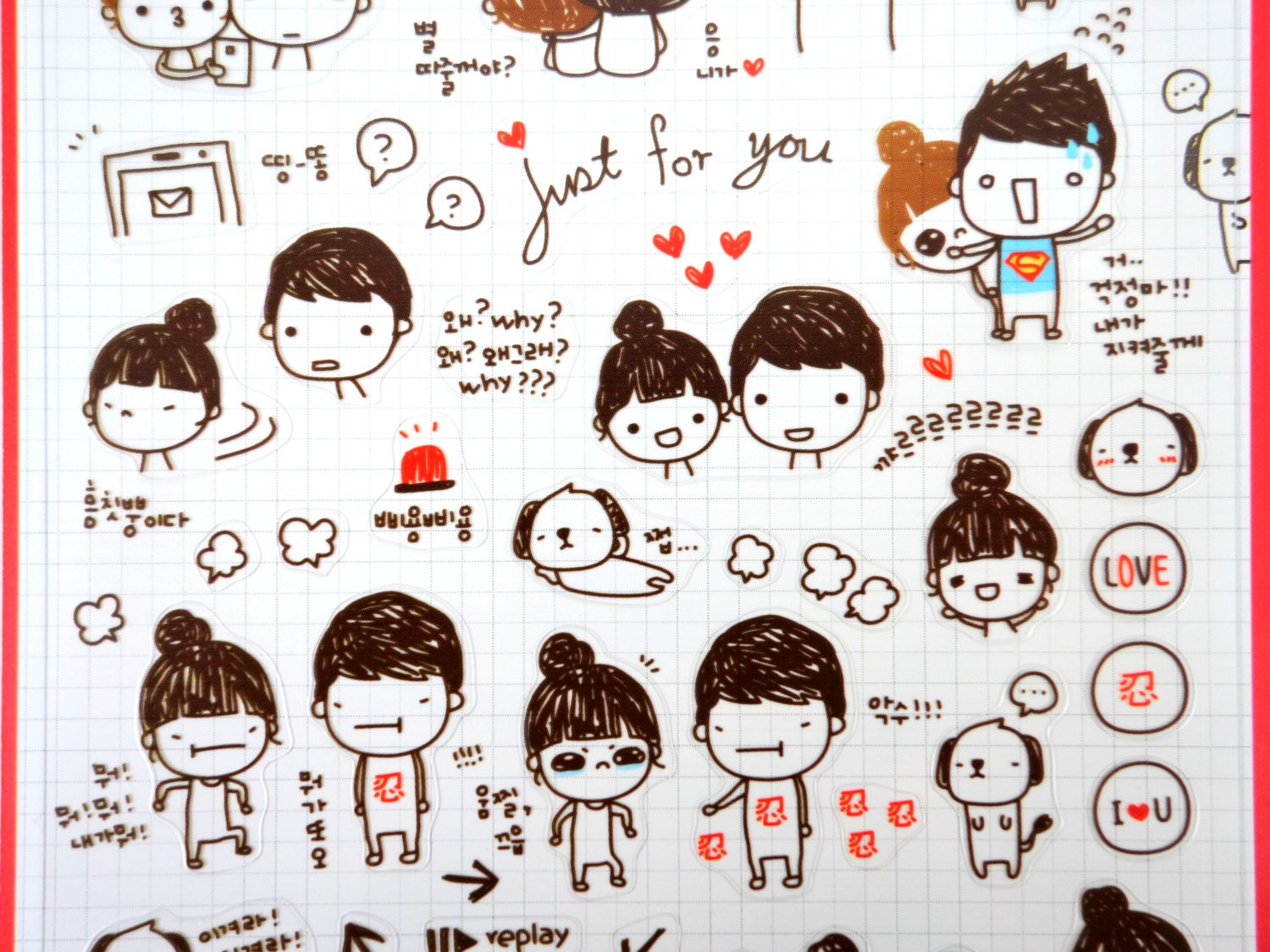 Cute couple stickers Korean stickers kawaii stickers for Couple Sticker Line  146hul
