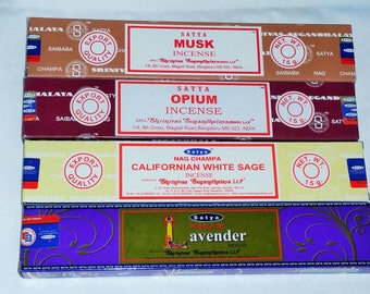 Satya Incense Sticks with 4 Different Flavours -Musk, Opium, Californian White Sage, Lavender with Free Incense Holder By Sterling Effectz