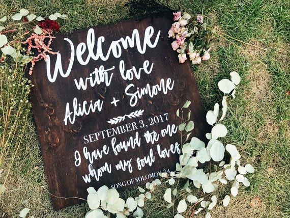 Welcome with love wedding sign | welcome sign with quote | welcome sign quote and date