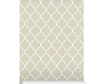 Self Adhesive Removable Wallpaper Moroccan Print Beige Peel And Stick Repositional Fabric