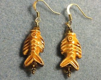 Amber ceramic fish bead earrings adorned with amber Chinese crystal  beads.