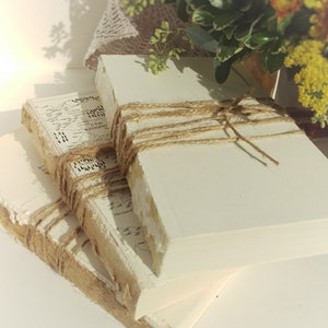 Set of 3 Unbound Old Books Wrapped in Twine, Farmhouse Decor, Urban texture, photo prop, boho decor, simple life, want-sabi